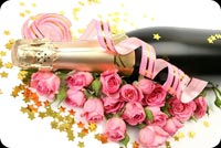 Bó Hồng Và Rượu Champagne Mẫu Nền Thư