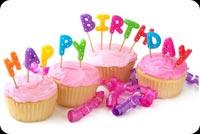 Happy Birthday! Bánh Cup Cakes Mẫu Nền Thư
