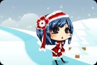 Bé Gái Mặc Đồ Noel Trên Đồi Tuyết Mẫu Nền Thư