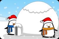 Hai Chú Chim Cánh Cụt Đón Giáng Sinh Mẫu Nền Thư