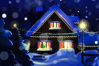 Đêm Phủ Tuyết Trắng Mẫu Nền Thư