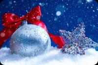 Trái Châu Bạc & Nơ Đỏ Noel Mẫu Nền Thư