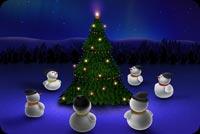 Người Tuyết Ngồi Ngắm Cây Noel Mẫu Nền Thư