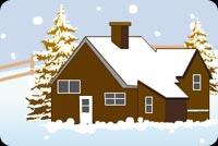Căn Nhà Và Cây Thọng Phủ Tuyết Trắng Mẫu Nền Thư