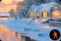 Ngôi Nhà Tuyết Bên Dòng Suối Mẫu Nền Thư