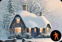 Noel Đến Rồi. Ngôi Nhà Tuyết Thân Yêu Mẫu Nền Thư