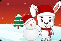 Xin Chào Thỏ Con Và Người Tuyết Mẫu Nền Thư
