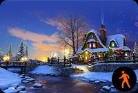 Ảnh Động Căn Nhà Giáng Sinh Dễ Thương Mẫu Nền Thư