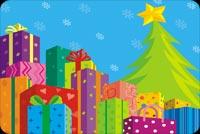 Quà Bên Cây Thông Giáng Sinh Mẫu Nền Thư