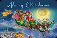 Santa & Các Thiên Thần Bay Trong Đêm Noel Mẫu Nền Thư