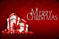 Quà Noel Và Chữ Merry Christmas Mẫu Nền Thư