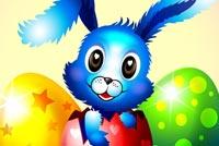 Thỏ Xanh Bên Trứng Easter Mẫu Nền Thư