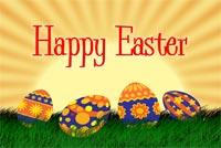 4 Quả Trứng Happy Easter Mẫu Nền Thư