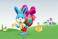 Bạn Thỏ Đi Tìm Trứng - Happy Easter Mẫu Nền Thư