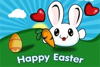 Thỏ Con Mắt Bự Happy Easter Mẫu Nền Thư