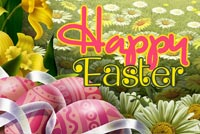 Trứng Easter Trong Rừng Hoa Mẫu Nền Thư