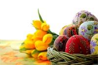 Rổ Trứng & Hoa Happy Easter Mẫu Nền Thư