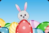 Thỏ Trắng Ôm Trứng Mẫu Nền Thư