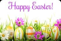 Thiệp Happy Easter Chữ Tím Mẫu Nền Thư