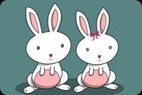 Đôi Thỏ Trắng Happy Easter Mẫu Nền Thư