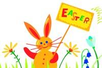 Thỏ Con Cầm Bảng Easter Mẫu Nền Thư