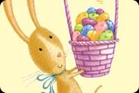 Thỏ Ôm Rổ Trứng Easter Dễ Thương Mẫu Nền Thư