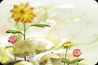 Hoa Vàng Với Những Cây Nấm Mẫu Nền Thư