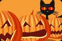 Mèo Đen & Pumpkins Mẫu Nền Thư