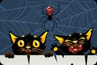 Halloween Mèo Đen & Nhện Mẫu Nền Thư