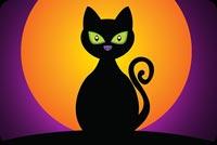 Mèo Đen & Đêm Trăng Tròn Mẫu Nền Thư