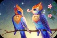 Đôi Chim Uyên Ương Mẫu Nền Thư