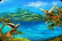 Đôi Phụng Trên Đảo Thần Tiên Mẫu Nền Thư