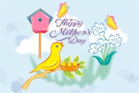 Chim Mẹ Và Đàn Con Mẫu Nền Thư