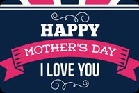 Thiệp Mother's Day Xanh & Hồng Mẫu Nền Thư