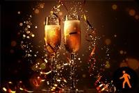 Ảnh Động Ly Rượu Chúng Mừng Năm Mới Mẫu Nền Thư