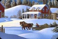Ngựa Kéo Xe Đi Trên Tuyết Mẫu Nền Thư