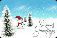 Ngườ Tuyết Nhỏ - Season's Greetings Mẫu Nền Thư