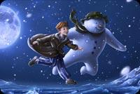 Bay Cao Với Người Tuyết Mẫu Nền Thư