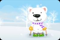 Gấu Trắng Trượt Tuyết Mẫu Nền Thư