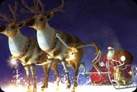 Santa Cưỡi Hưu Trong Đêm Tuyết Mẫu Nền Thư
